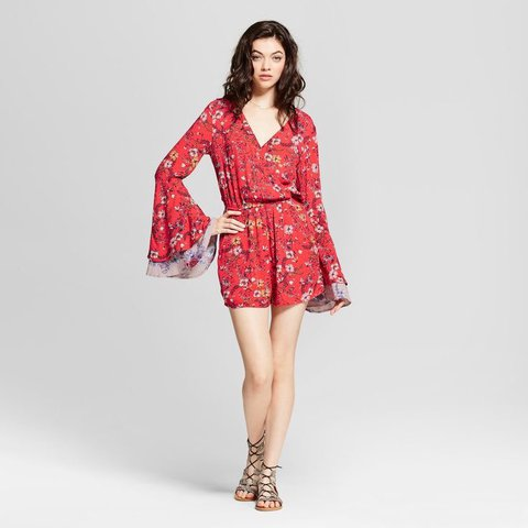 02e0584ac29 Red floral romper. Perfect for summer. Cute flared once - Depop