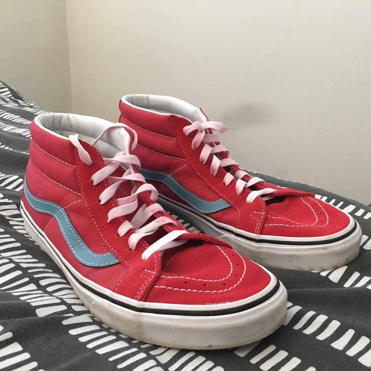 Vans sk8 mid size 9 Some red staining on the laces due to - Depop 6edb849b7d90