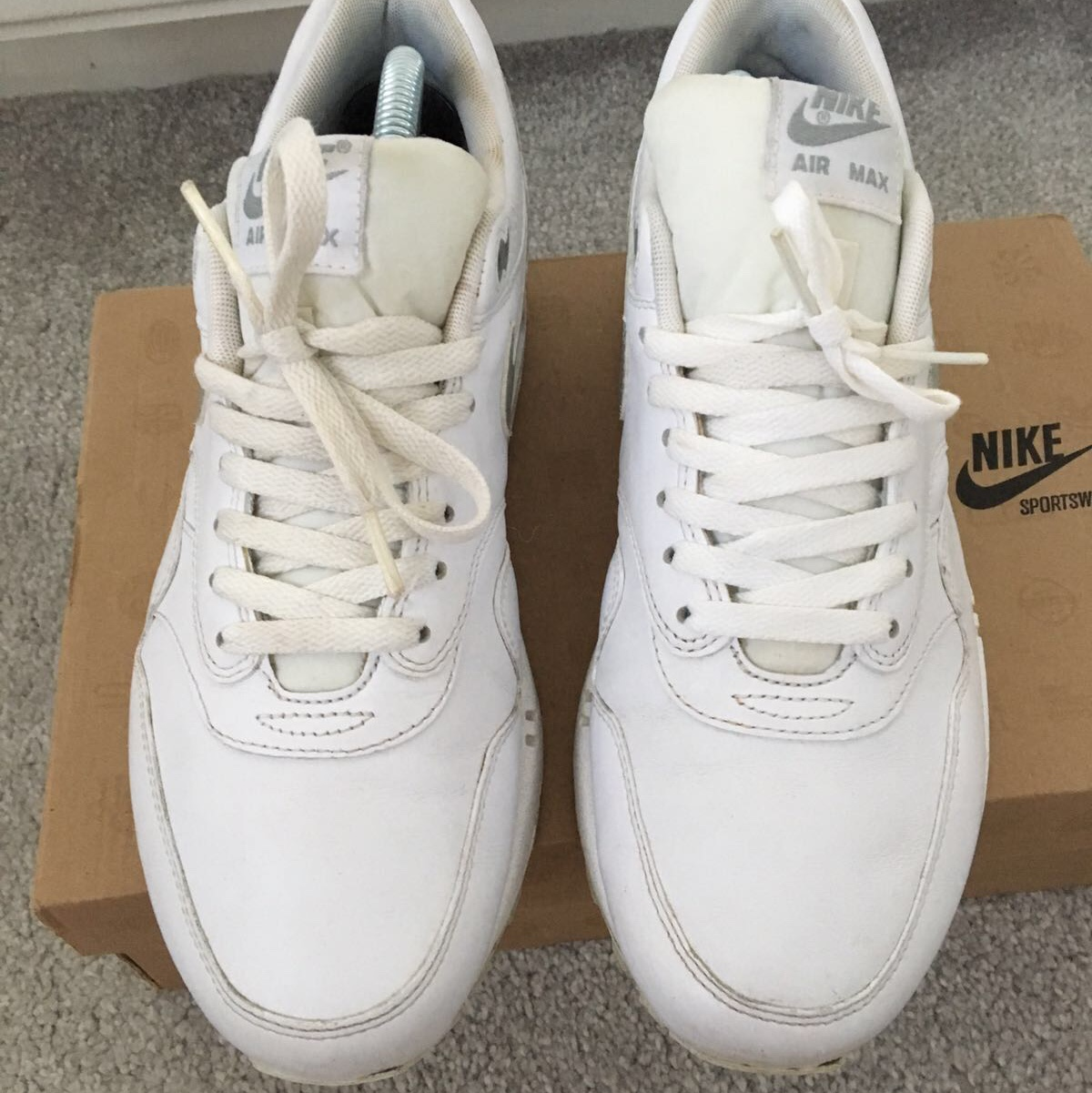 Nike Air max 1 premium White leather with metallic Depop