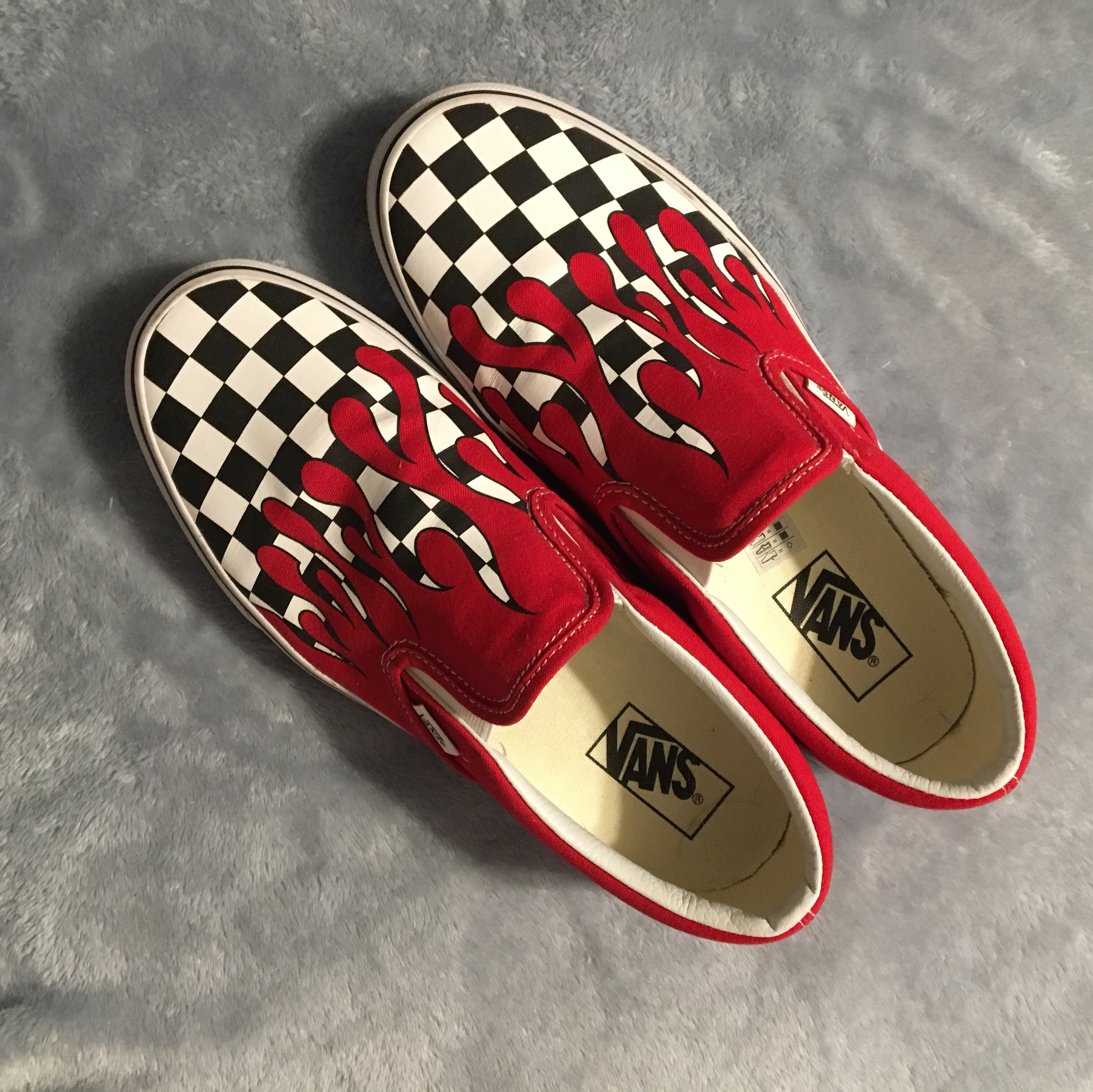 like new checkered vans w red drip