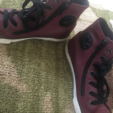 28a6cacee15 SUPER DOPE AND VINTAGE MAROON RED LEATHER CONVERSE HIGH TOPS - Depop