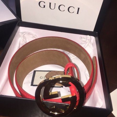 3a143c896 100% Authentic red Gucci belt with gold buckle. Size with - Depop