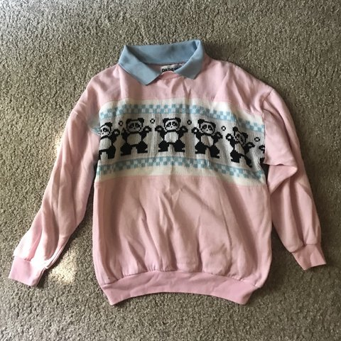 pink sweater with blue collar and pandas 4cdc9df9d