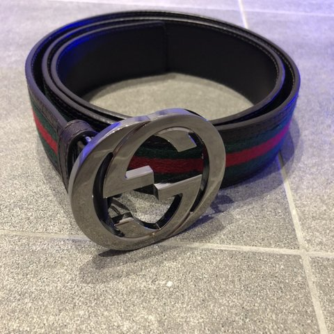 bab6c5de0e5 Classic Gucci red and green black leather genuine belt with - Depop