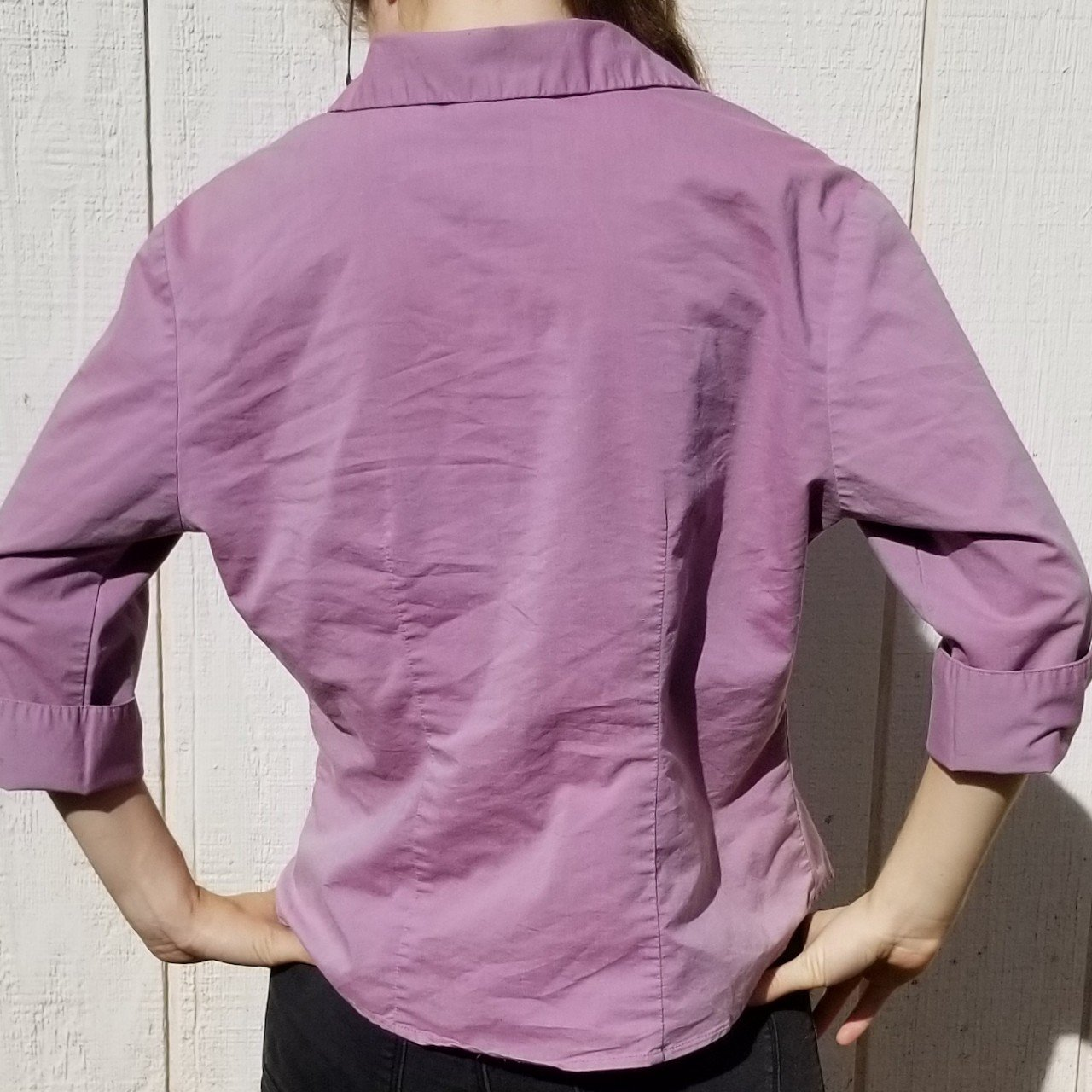 142c44f4f Kathie Lee Ladies Purple Button-down Blouse. Size: cotton, - Depop