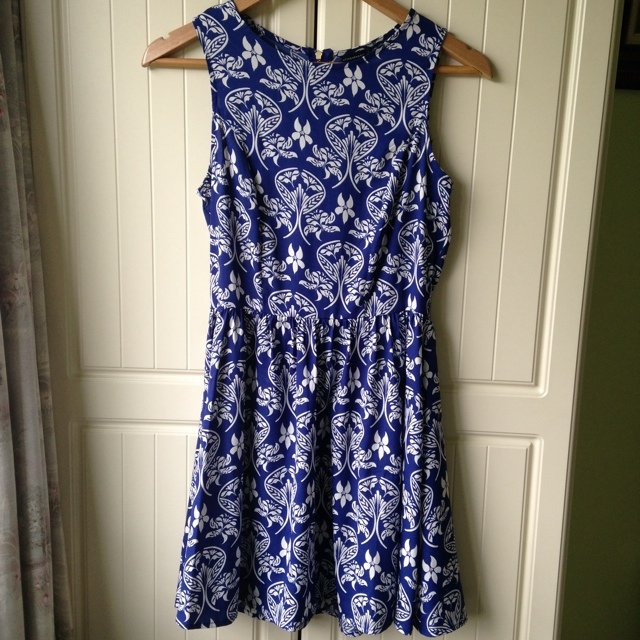 f33adfd383b8 Dress from  primark  penneys Blue and white printed dress. 8 - Depop