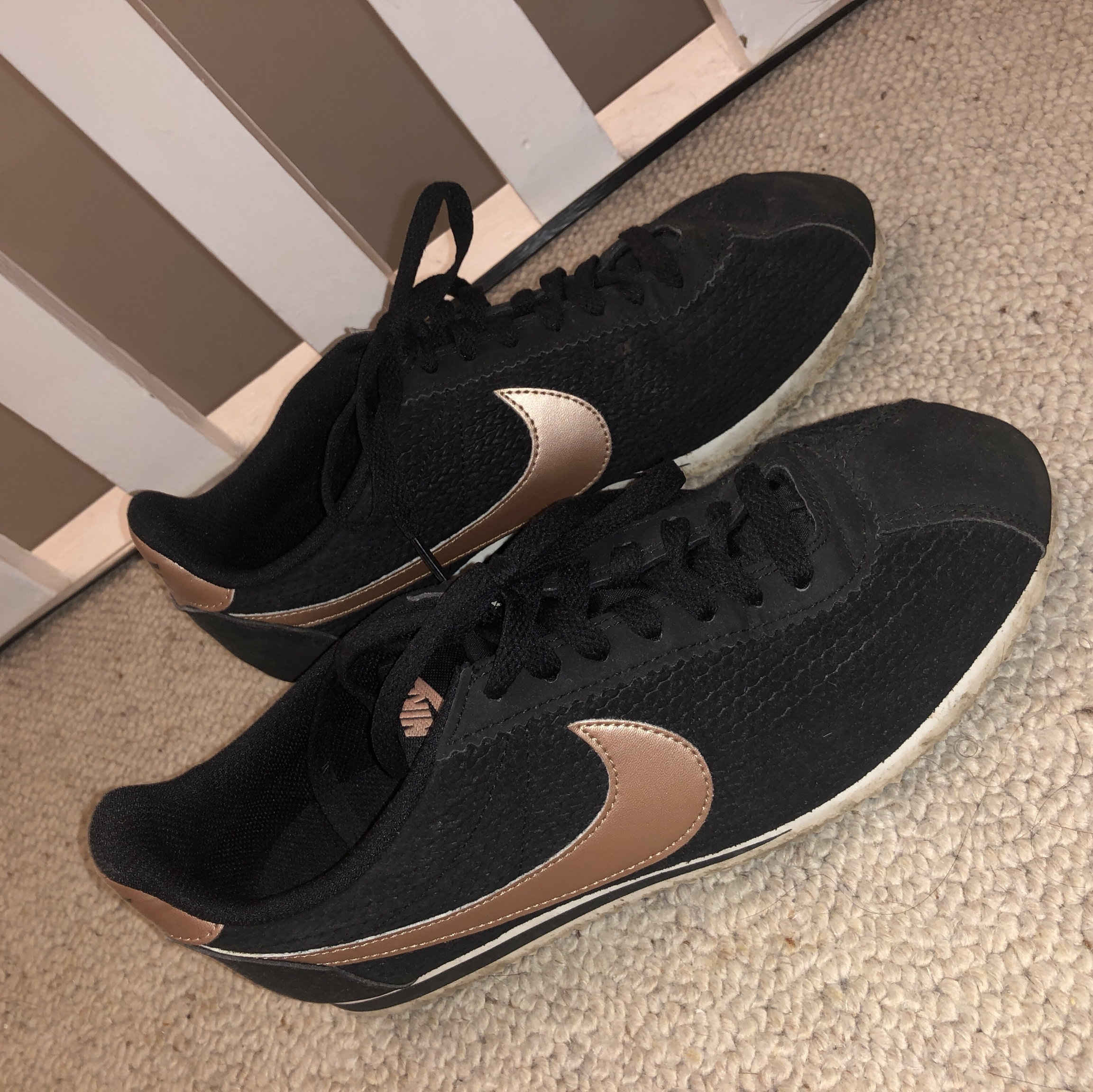 the latest 43550 f6ced Nike Cortez trainers Black and rose gold Size... - Depop
