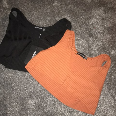 f4909cccb52 PLT raw edge crop tops in black and rust. Black is size 10, - Depop
