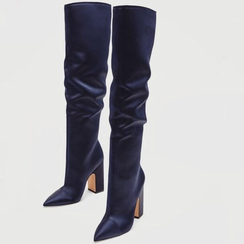 01266df738a ✨🔮  navy  blue  satin  boots  zara Never worn