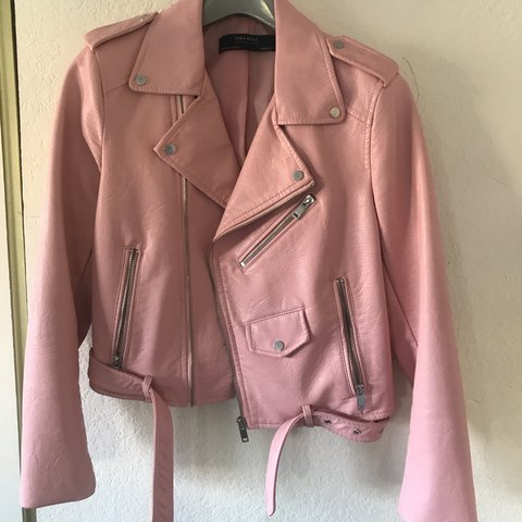 ac3939cbc98f Baby pink leather jacket from Zara! Really nice for winter - Depop