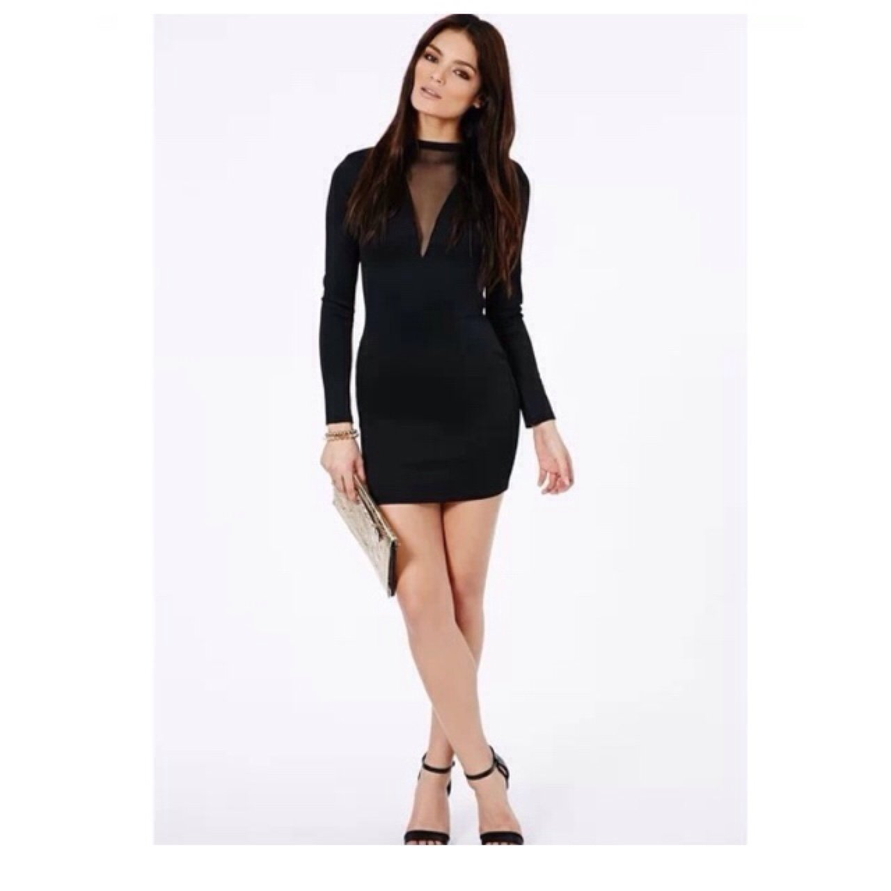 79df8d8554 Misguided black lexi bodycon mini dress with mesh v neck. is - Depop