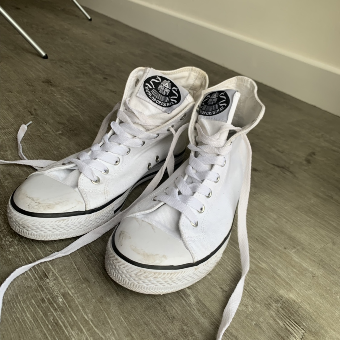White DUNLOP Converse style high tops