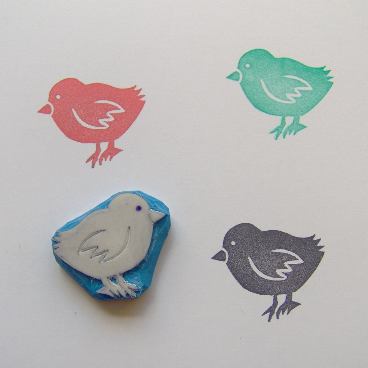 Cute Baby Chick Rubber Stamp Hand 0