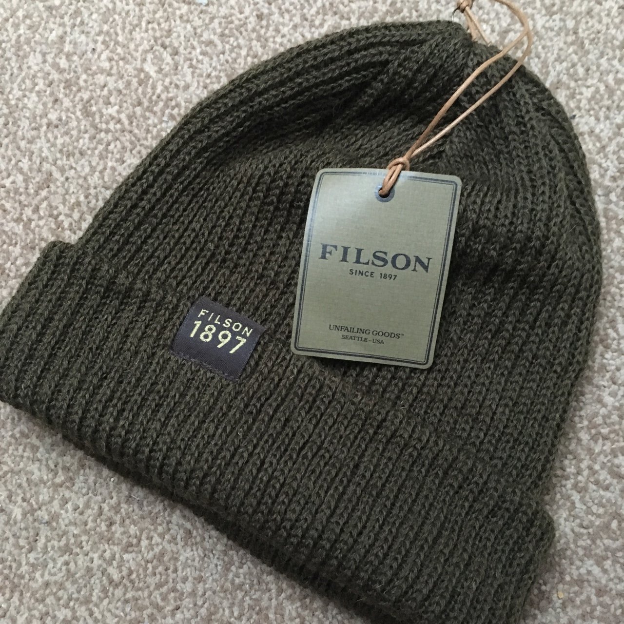 Filson 1897 beanie hat. 100% wool made in USA. One size. new - Depop 63c5222457e