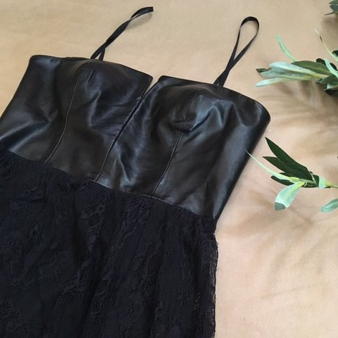 34511fe904 Vampy, high low lace skirt, strapless dress with leather and - Depop