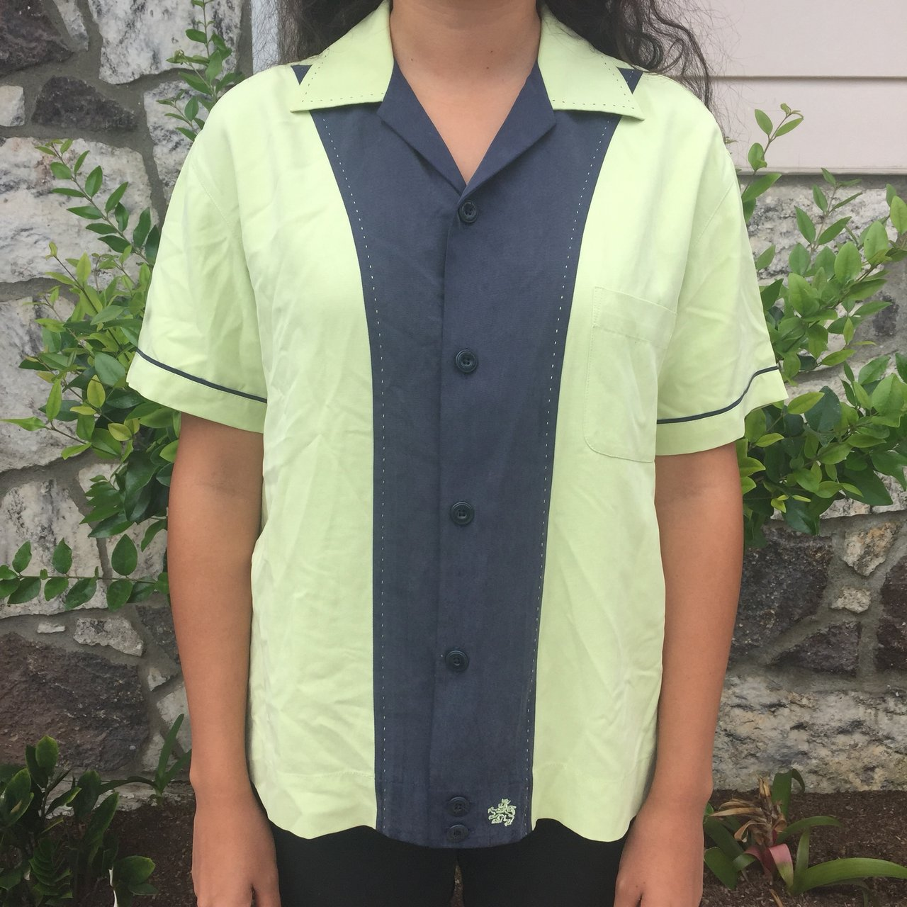 8004bcf716a Vintage green and blue button up top. Very 1950s bowling In - Depop