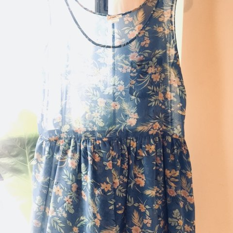 Sheer sky blue floral skater dress. With two layers of at in - Depop b865b4e1c