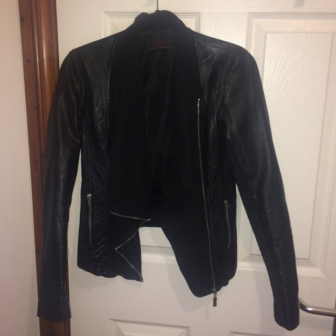 New Look Black Leather Waterfall Jacket Size 8 Small On Is Depop