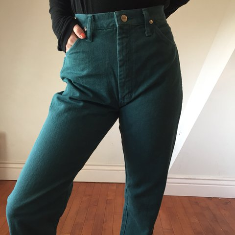 0562d323bb2c @madisonambr. last year. Ogden, United States. EMERALD GREEN VINTAGE HIGH  WAISTED WRANGLER JEANS PERFECT CONDITION!