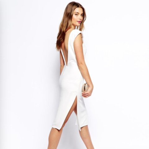 14fcb8d799fb @sallytrow. 2 months ago. Wigan, Wigan, UK. White backless midi dress.