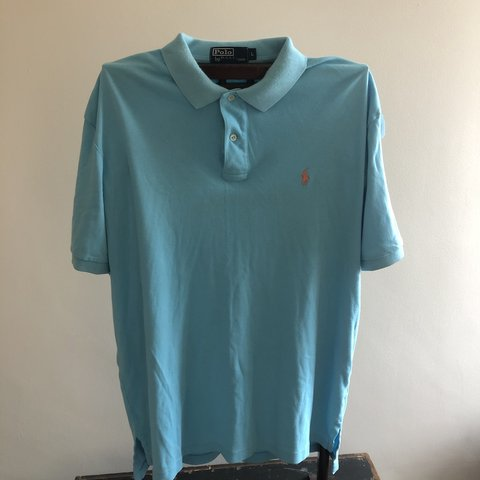 fdf2d812d Ralph Lauren men s polo classic light blue and orange logo L - Depop