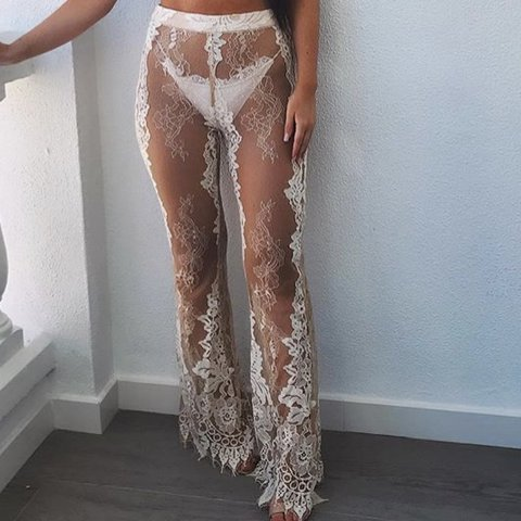 4813b40f84 @katiehitch06. last year. Wigan, United Kingdom. Missguided Premium but  bought from Asos lace cream / white high waisted beach trousers ...