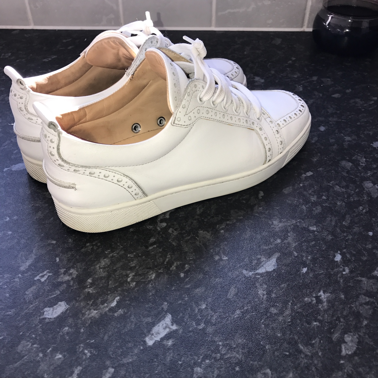 2a0d98a72ae Christian Louboutin Mens Low Rantus Shoes in white.... - Depop
