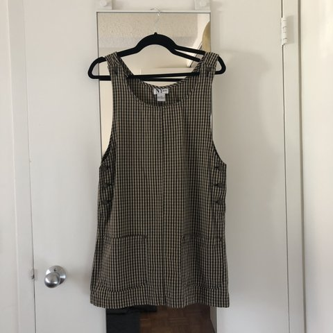 64be405d82 NY JEANS vintage jumper dress in a cute gingham print. With - Depop