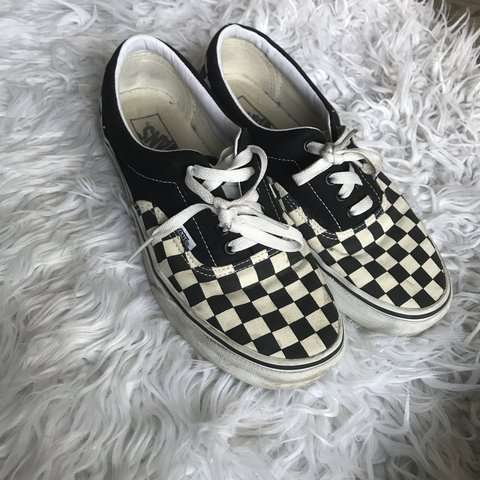 7594a2c389e1a5 Gently used checkered van sneakers Also fits women seen so - Depop