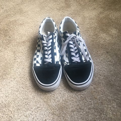 28de57abc9e Black and White Half checkered vans with laces. Worn but new - Depop