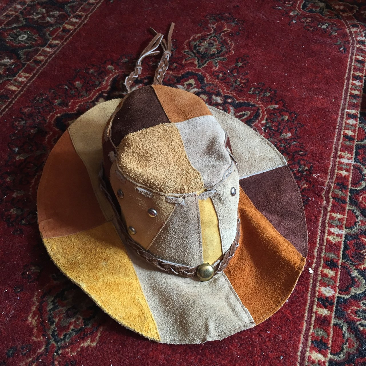 abaf11f31be Vintage 70s or 90s patchwork suede floppy hippie hat ! this - Depop