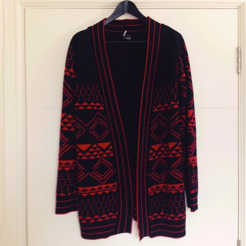 9b765d5291a7 Black and red Aztec ethnic jumper cardigan pullover pattern - Depop