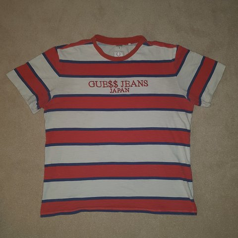 0e2e0777d3fc @reubenlay4. 9 months ago. West Harptree, Bath and North East Somerset,  United Kingdom. Guess jeans japan striped t shirt. Red white and blue  stripes