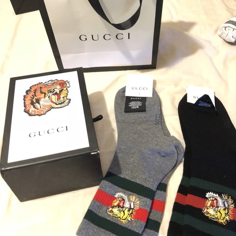 f7e8bb6ac8 Gucci socks - two brand new pairs with bag box bought them - Depop