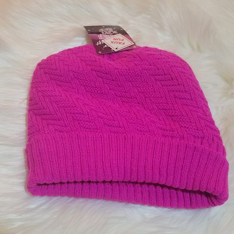 777844e7039 Hot Pink Winter Hat made with Faux Fur - Depop