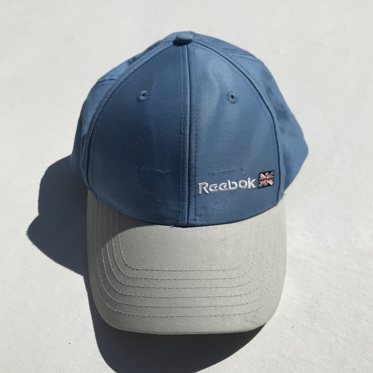 d743b43886f2b Reebok Hat. Simple spell out with the Union Jack. Velcro in - Depop