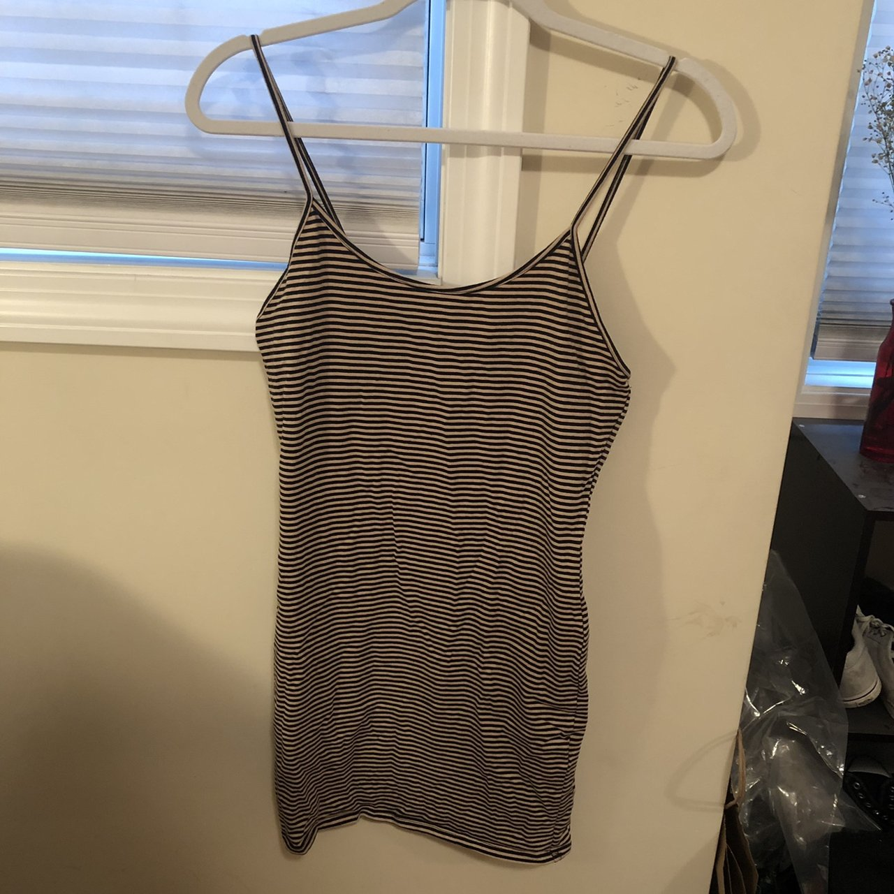 65c3eaeacf8 Forever 21 tan and black striped bodycon dress