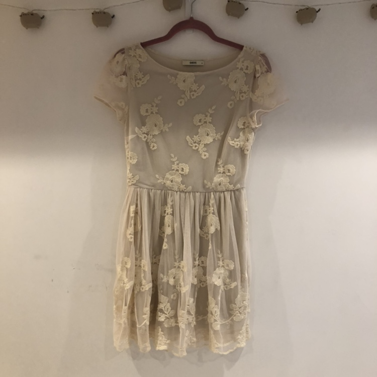 Gorgeous Little Gathered Lace Summer Dress From Depop