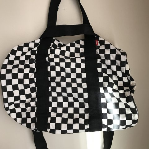 b14ef48ecd Vans canvas black and white checkerboard duffle bag. NEVER - Depop