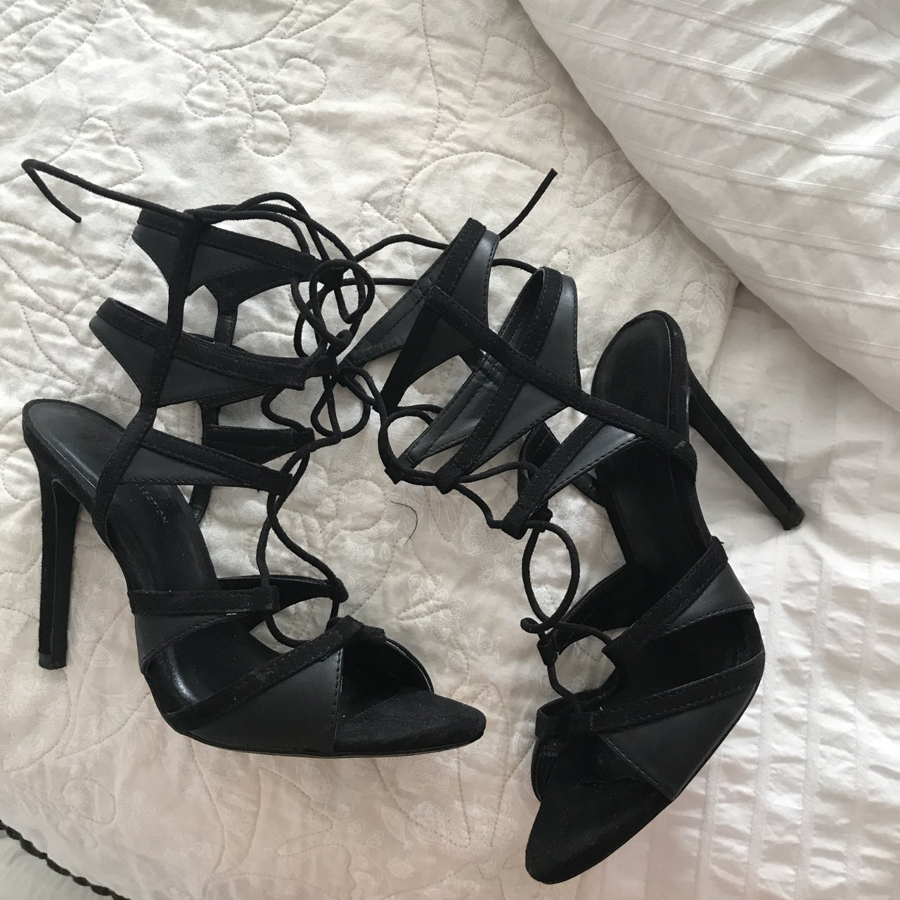 948294b890d Zara lace up black heels! Only work twice. size 37 which I a - Depop