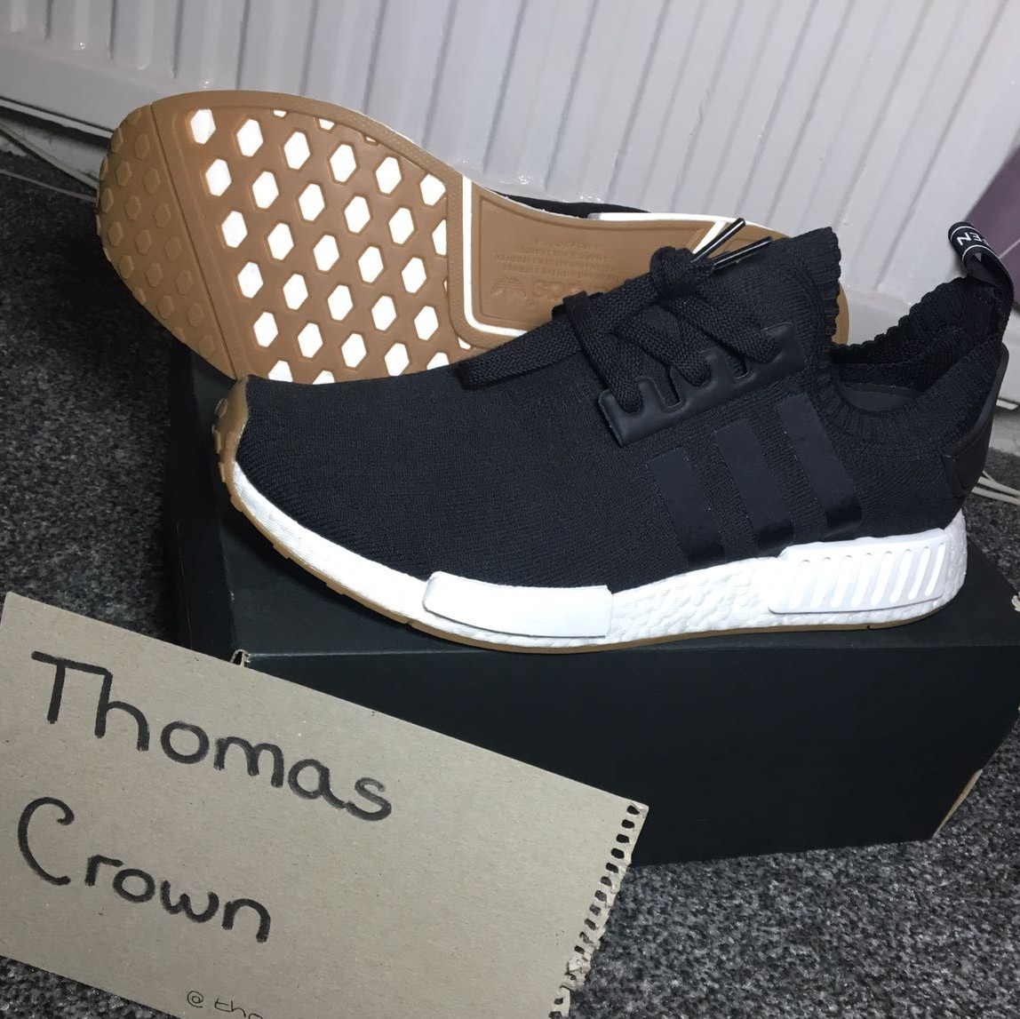 Adidas Nmd R1 Primeknit Gum Pack Black Uk10 Ds Depop