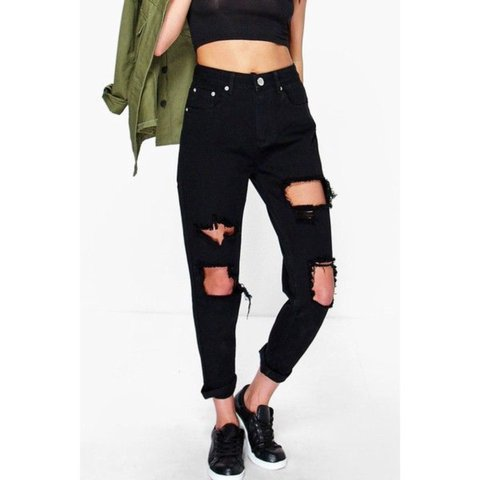 659f584b9736 Boohoo mega rip jeans, have large patch rips all up the and - Depop