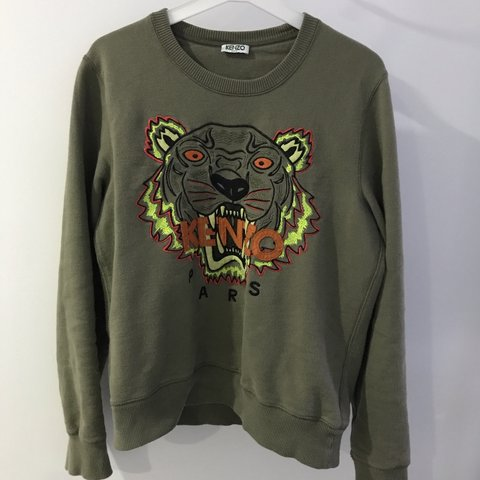 17972a4f Women's kenzo green khaki jumper sweatshirt Size embroidered - Depop