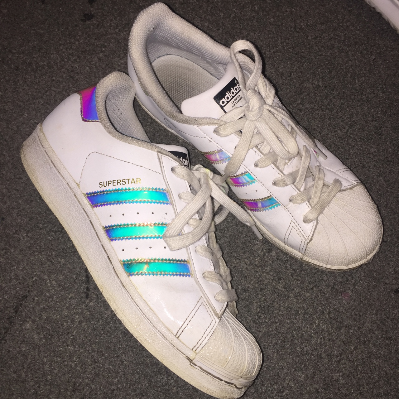 best sneakers 197c1 4c0dd Adidas superstars, white, rainbow stripes, worn a... - Depop