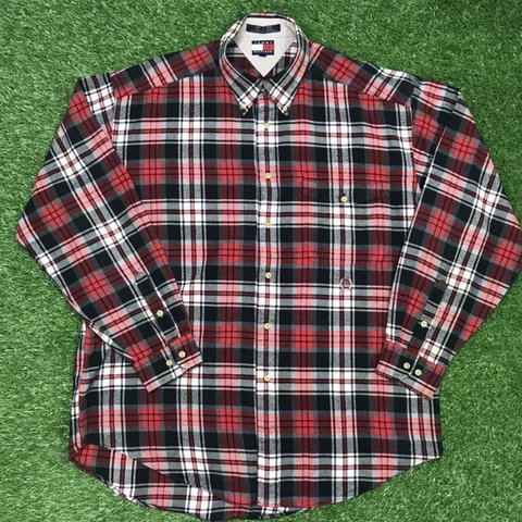 582be520 @rigsragsvintage. 5 months ago. York, United Kingdom. Vintage Tommy  Hilfiger Flannel Button Down Cotton Long Sleeve Shirt Size: Large ...