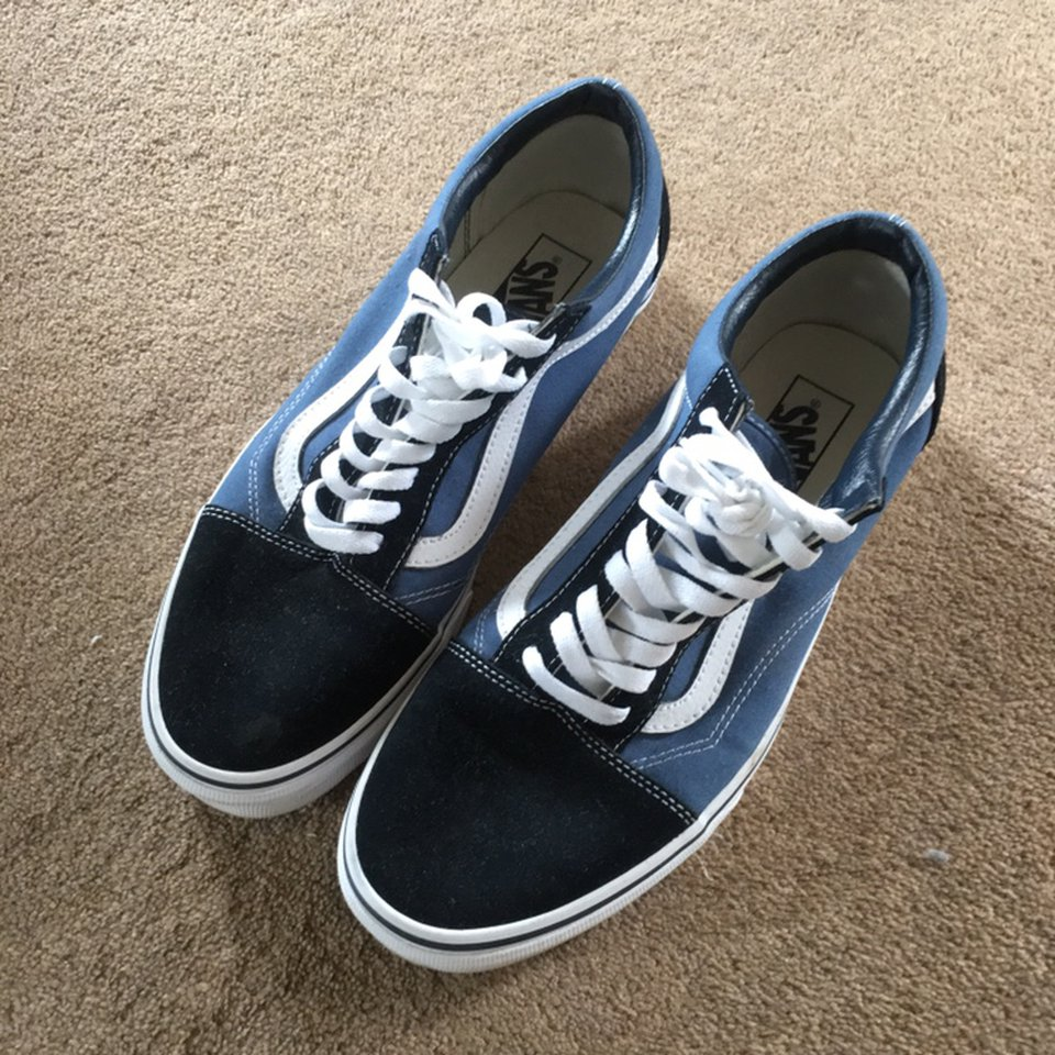 VANS Old Skool bluenavywhite Size 9.5 UK Worn a Depop