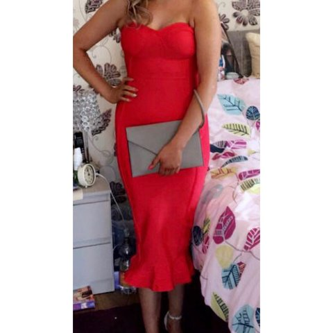 8abf2553fe Red Bandage Frill Hem Midi Dress😍 Worn once only for a few - Depop