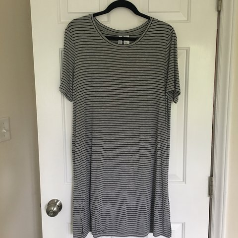 113fa80a86 Gray and black striped t-shirt dress from H M! In great A is - Depop