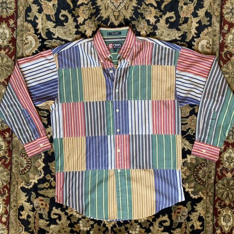 "6ac84bb1 @asapvtg. in 5 hours. Flower Mound, United States. Vintage Chaps Ralph  Lauren ""Patchwork"" Striped Button Down."