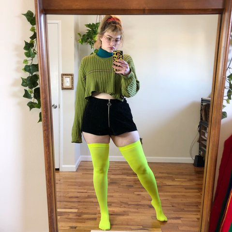 fe4311901 Neon yellow green thigh high tights with fishnet style top I - Depop